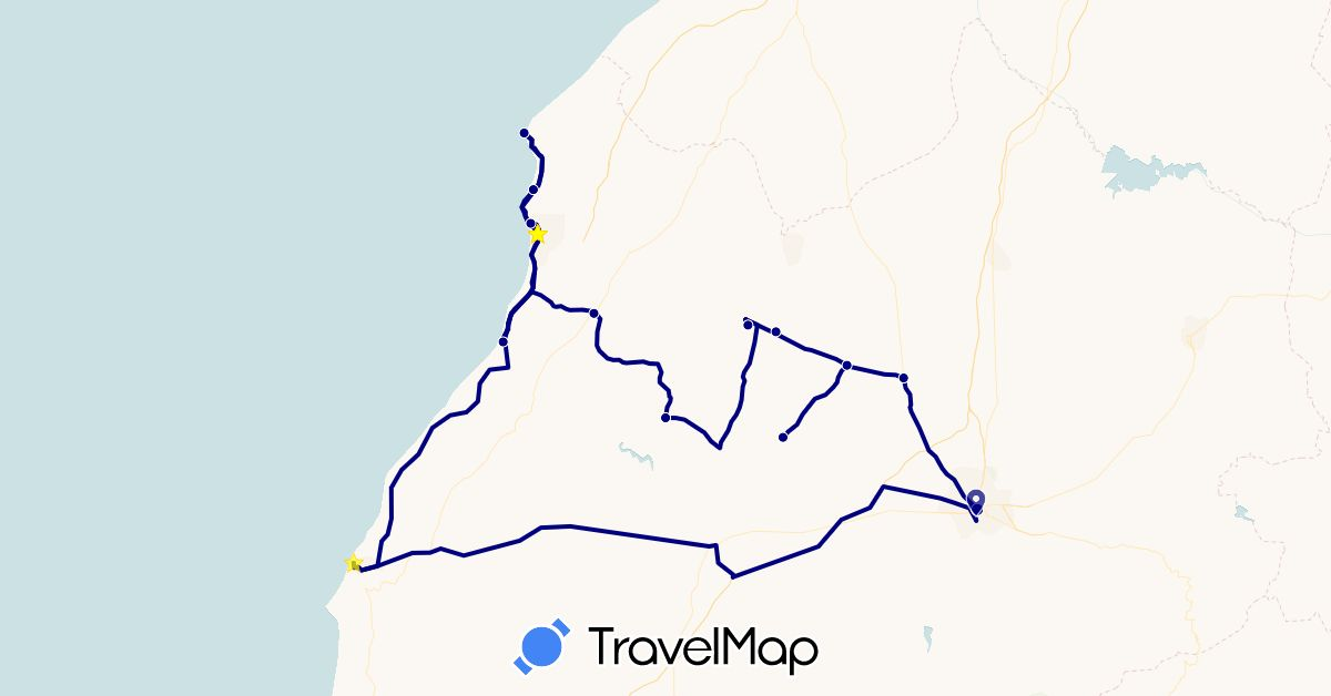 TravelMap itinerary: driving in Morocco (Africa)